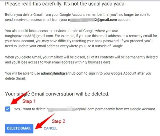 Delete Gmail account data