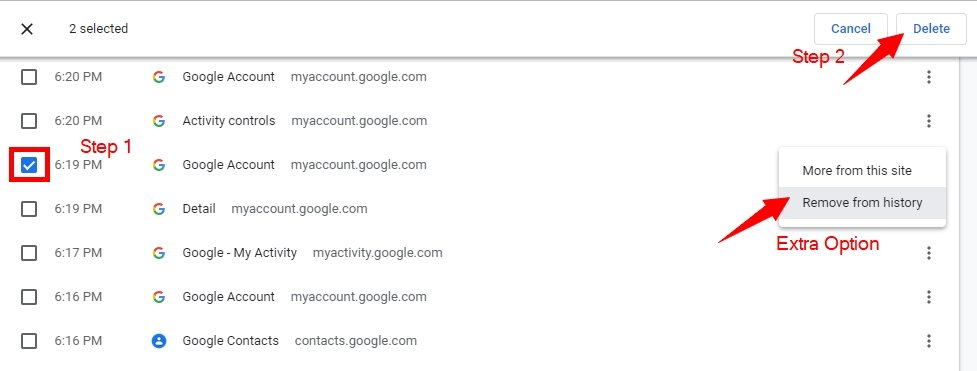 Clear Google chrome browser History