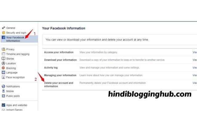 FB account delete karne ka tarika